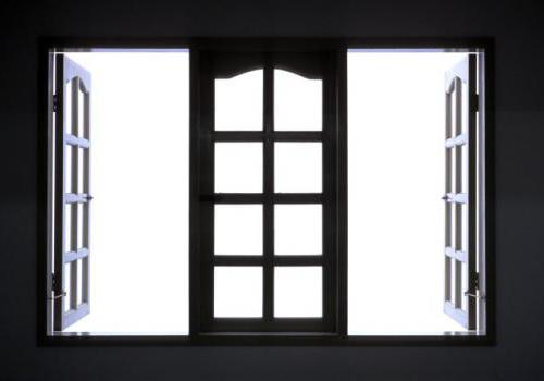 Fenêtre noire en bois
